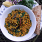 Chana dahl with spinach: feeling the pressure