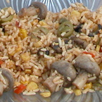 Mushroom and Fried Corn Rice
