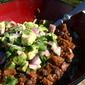 BEEF AND BLACK BEAN CHILI WITH CHIPOLTE AND AVOCADO