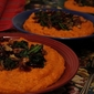 Flavorful Fall Side Dish: Cheesy Pumpkin Polenta Recipe with Spinach, Pecan and Craisin Topping
