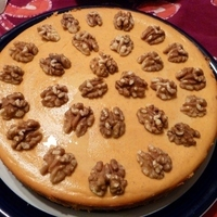 Pumpkin Cheesecake with Gingersnaps and Walnuts
