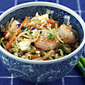 Recipe for sesame shrimp fried rice with broccoli slaw