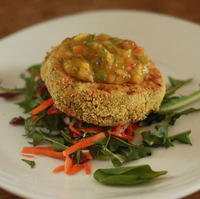 Lentil Bulgar Burgers with Fiery Fruit Salsa