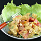 Recipe for curried chicken salad with bell pepper, peanuts and raisins