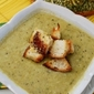 Fresh Pea Soup with Parmesan Croutons