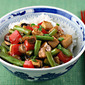 Recipe for tofu and green bean stir-fry with spicy peanut sauce