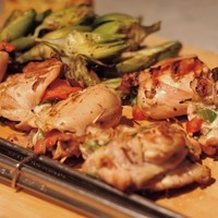 Stuffed Mojo Criollo Chicken with Grilled Baby Artichokes