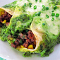 Beef and Corn Enchiladas with Spinach Cream Sauce
