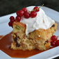 Got Stollen? Stollen Bread Pudding with Whipped Cream and Carmel Sauce