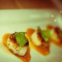 Cocoa Seared Scallops with Burnt Orange Sauce