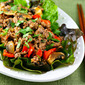 Recipe for red curry beef with mushrooms, red bell pepper and cilantro