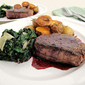 Pan-Seared Filet Mignon with Red-Wine Sauce, Rosemary-Roasted Potatoes, and Sautéed Spinach