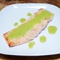 Grilled Salmon with Basil Cream Sauce