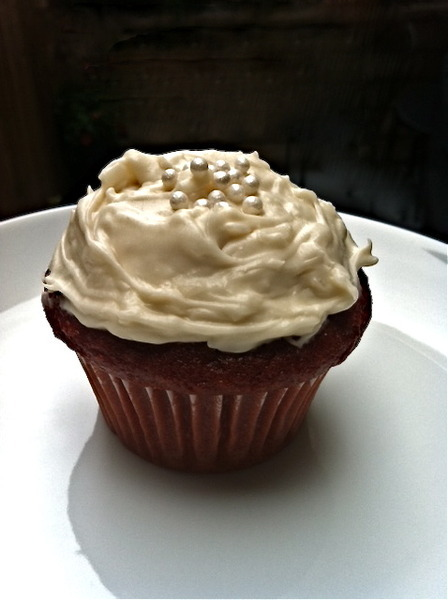 Red Velvet Cupcake with Coconut Cream Cheese Frosting Recipe by Emily ...