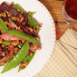 Five Ingredients. Five Minutes. Fabulous Flavors. Weeknight Chicken Saute Recipe with Beets, Walnuts and Pea Pods