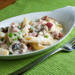 Layered Penne with Ham, Mushrooms, and Peas