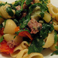 Conchiglie with roasted cauliflower, arugula, and prosciutto