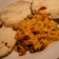 Pupusa and Arroz Con Gandules