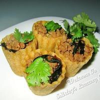 Aromatic Basil Minced Pork In Kueh Pie Tee Shells