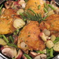 One Dish Rosemary Chicken with New Potatoes, Mushrooms and Green Beans