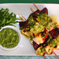 Spring, here we are – Grilled beets, sweet potato and haloumi kebabs with arugula-lime dipping sauce