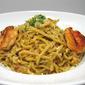 Home makes orange pasta with Garlic shrimps and orange sauce
