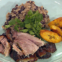 Image of Puerto Rican Style Roasted Pork Shoulder With Rican And Black Beans, And Fried Sweet Plantains Recipe, Cook Eat Share