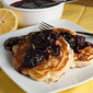 Lemon Ricotta Pancakes with Blackberry Sauce