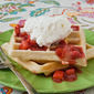 Strawberry Cream Cheese Waffles with Strawberry Sauce