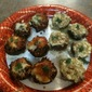 Vegetarian Pesto and Cheese Stuffed Mushrooms