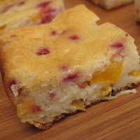 Butter Free Peach and Raspberry Yogurt Cake