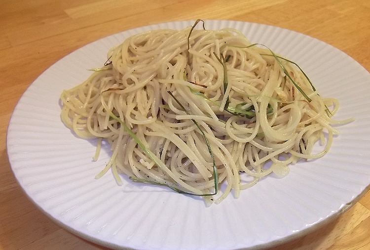 Spaghetti with Green Garlic and Olive Oil Recipe by The - CookEatShare