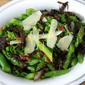 Asparagus, Pea, and Pancetta Spring Salad Topped with Balsamic Glazed Shallots