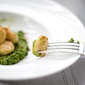 "White Asparagus & Ricotta ""Mini Malfatti"" with a Ramp & Pea Pesto for the April 5 Star Makeover"