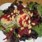 Windswept Farm, Teenage Boys and Mixed Green Salad with Roasted Beet Vinaigrette and Warm Goat Cheese Crouton