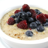 Our Favorite Heart Healthy Oatmeal with Vanilla Soy Milk and Fresh Berries
