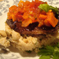 Balsamic steak with white bean mash and salsa