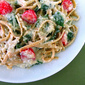 Pasta with Artichoke Sauce, Spinach and Tomatoes