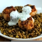 Turkey-Date Meatballs with Lentils and Yogurt Sauce