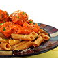Mini Meatballs in Spicy Red Pepper Sauce with Cannellini Beans and Penne