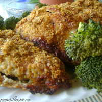 Oven Fried Corn Flake Chicken & Sweet ~ Garlic Broccoli
