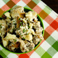 Lightened Fingerling Potato Salad with Caramelized Onions, Bacon, and Blue Cheese