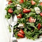 Baby Arugula with Strawberries, Toasted Almonds & Goat Cheese with A Maple Vinaigrette & Balsamic Glaze