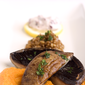 Grilled Portabella Mushrooms with a Garlicky Carrot Puree, Wheat Berries, & Cranberry Creme Fraiche: a Lighter Version of a Czech Classic