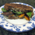 Recipe #183: Grilled Eggplant, Orange Bell Pepper, & Oyster Mushroom Panini with Melted Gorgonzola