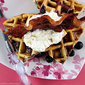 Blueberry Belgian Waffles with Candied Brown Sugar Bacon