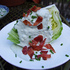 Wedge salad with blue cheese dressing & candied bacon