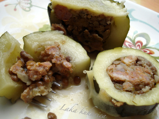 Zucchini stuffed with rice, lentils, Parmesan cheese and fresh sausage ...