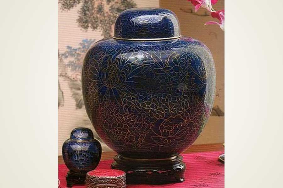 Blue Cloisonne Urns