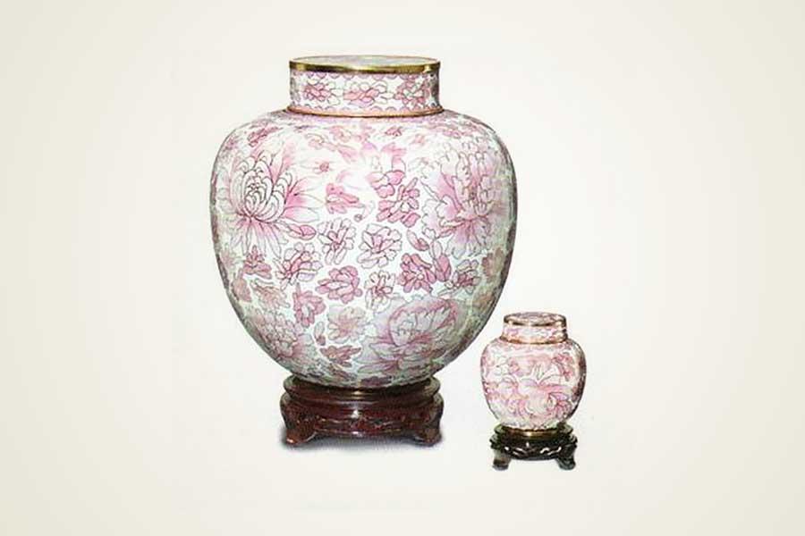 Pink Cloisonne Urns